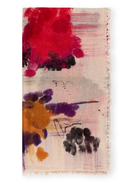Faliero Sarti Tuch KATLIN mit Cashmere und Seide, Farbe: HELLBRAUN/ ROT/ DUNKELGRÜN (Bild 1)