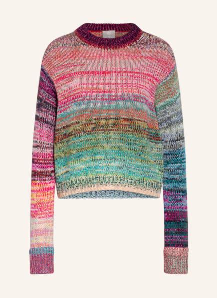 FTC CASHMERE Cashmere-Pullover, Farbe: FUCHSIA/ GRÜN/ GELB (Bild 1)