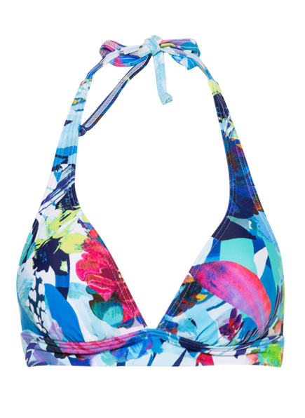 Hot Stuff Neckholder-Bikini-Top AQUA FLOWER, Farbe: HELLBLAU/ DUNKELBLAU/ PINK (Bild 1)