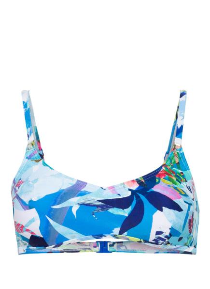 Hot Stuff Bustier-Bikini-Top AQUA FLOWER , Farbe: HELLBLAU/ DUNKELBLAU/ PINK (Bild 1)
