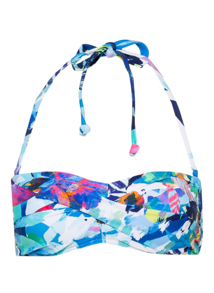 Hot Stuff Bandeau-Bikini-Top AQUA FLOWER , Farbe: HELLBLAU/ DUNKELBLAU/ PINK (Bild 1)