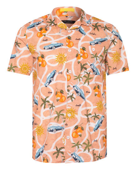 TED BAKER Kurzarm-Hemd Regular Fit, Farbe: LACHS/ BLAU/ ORANGE (Bild 1)