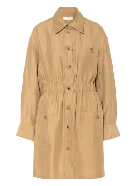 SANDRO Hemdblusenkleid mit Leinen, Farbe: CAMEL (Bild 1)