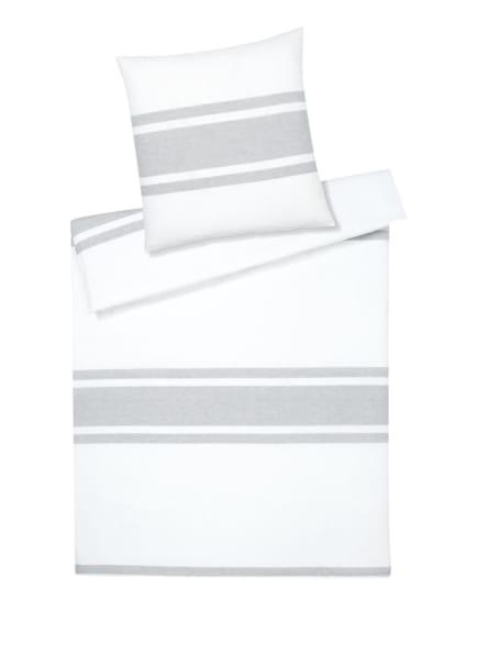 elegante Bettwäsche MELLOW mit Leinen, Farbe: WEISS/ GRAU (Bild 1)