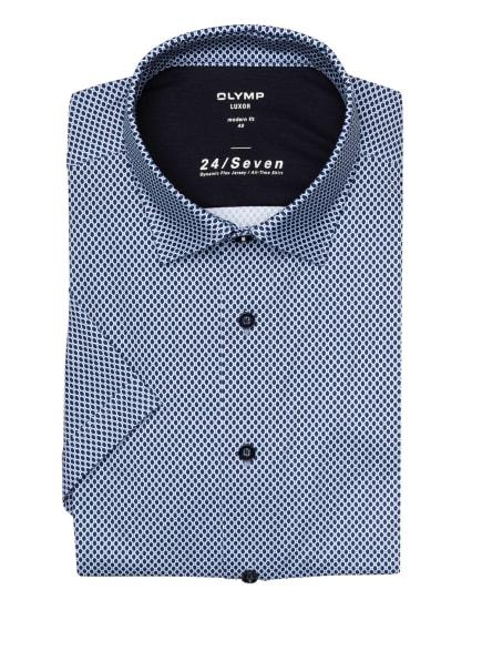 OLYMP Kurzarm-Hemd Luxor 24/7 modern fit aus Jersey, Farbe: WEISS/ DUNKELBLAU/ HELLBLAU (Bild 1)