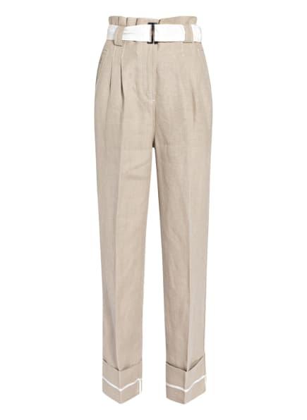 GANNI Paperbag-Hose aus Leinen , Farbe: CREME (Bild 1)