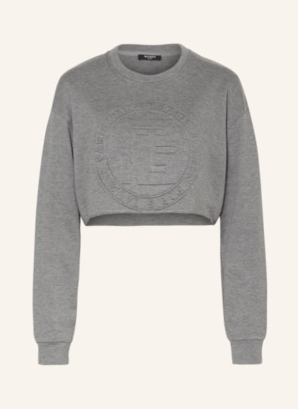 BALMAIN Cropped-Sweatshirt, Farbe: GRAU (Bild 1)