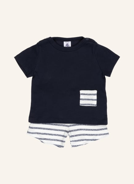PETIT BATEAU Set: T-Shirt und Shorts, Farbe: DUNKELBLAU/ WEISS (Bild 1)
