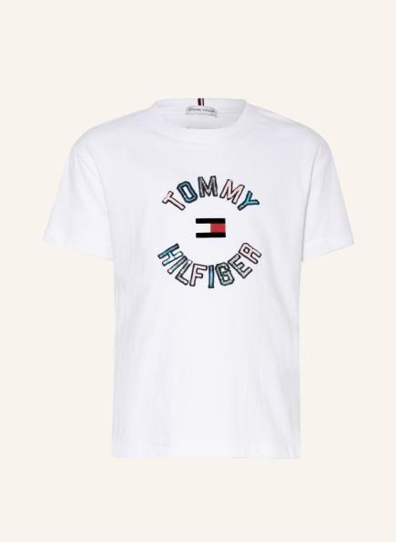 TOMMY HILFIGER T-Shirt mit Paillettenbesatz , Farbe: WEISS (Bild 1)