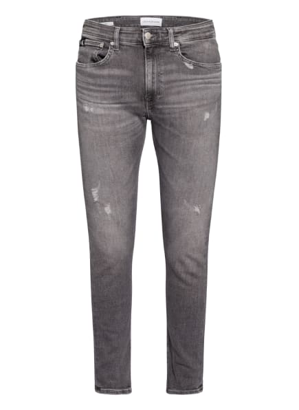 Calvin Klein Jeans Destroyed Jeans Skinny Fit, Farbe: 1BZ DENIM GREY (Bild 1)