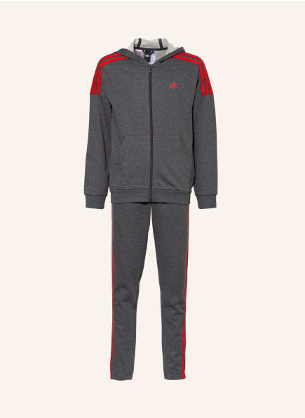 adidas Set: Sweatjacke und Sweathose, Farbe: GRAU/ ROT (Bild 1)