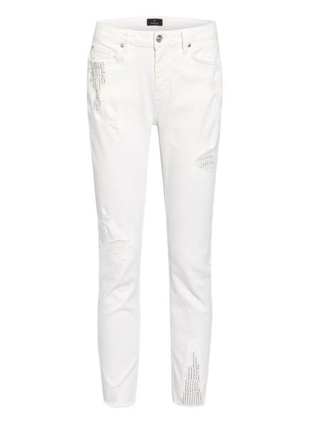 monari Skinny Jeans mit Schmucksteinbesatz, Farbe: 102 off-white (Bild 1)