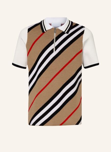 BURBERRY Strick-Poloshirt, Farbe: BEIGE/ SCHWARZ/ ROT (Bild 1)