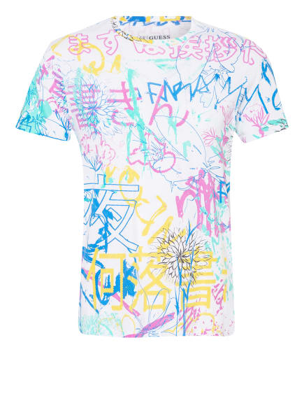 GUESS T-Shirt GRAFFITI COLLAGE, Farbe: WEISS/ PINK/ MINT (Bild 1)