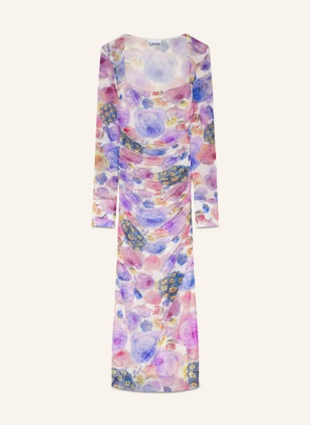 GANNI Kleid, Farbe: WEISS/ LILA/ HELLGELB (Bild 1)