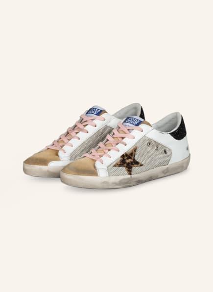 GOLDEN GOOSE Sneaker SUPERSTAR mit Paillettenbesatz, Farbe: WEISS/ GELB (Bild 1)