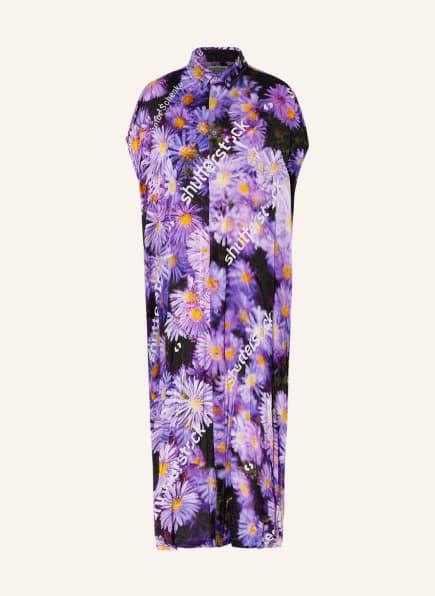 BALENCIAGA Oversized-Hemdblusenkleid aus Seide, Farbe: DUNKELLILA/ HELLLILA/ GELB (Bild 1)