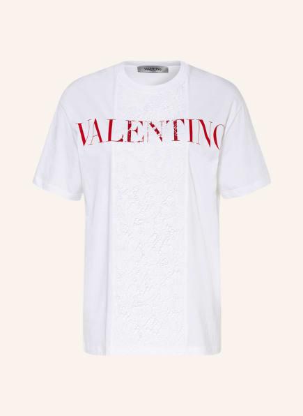 VALENTINO T-Shirt mit Spitzenbesatz, Farbe: WEISS/ ROT (Bild 1)