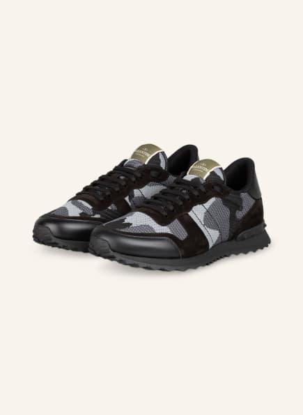 VALENTINO GARAVANI Sneaker ROCKRUNNER CAMOUFLAGE aus Mesh, Farbe: SCHWARZ/ DUNKELGRAU/ HELLGRAU (Bild 1)