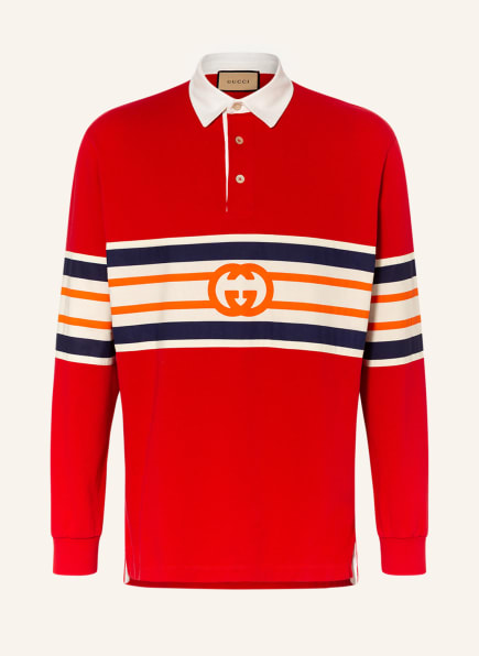 GUCCI Jersey-Poloshirt , Farbe: ROT/ ORANGE/ DUNKELBLAU (Bild 1)