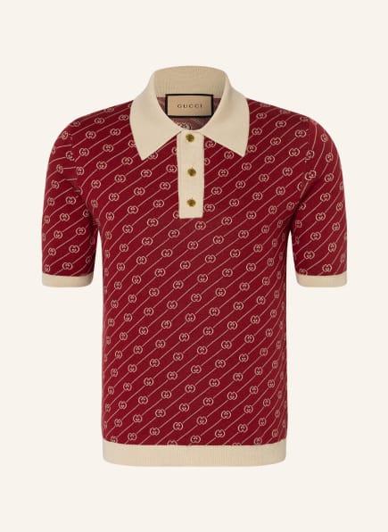 GUCCI Strick-Poloshirt mit Seide , Farbe: DUNKELROT/ CREME (Bild 1)