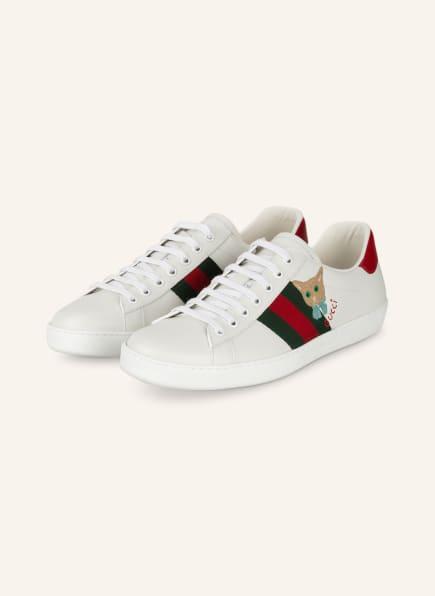 GUCCI Sneaker NEW ACE, Farbe: WEISS/ GRÜN/ ROT (Bild 1)