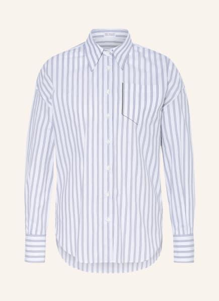 BRUNELLO CUCINELLI Hemdbluse mit Schmucksteinbesatz, Farbe: WEISS/ GRAU (Bild 1)