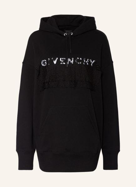 GIVENCHY Oversized-Hoodie mit Spitzenbesatz, Farbe: SCHWARZ (Bild 1)