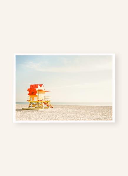 DAVID & DAVID STUDIO Kunstdruck MIAMI BEACH - CABINE ROUGE, Farbe: BEIGE/ HELLBLAU/ ORANGE (Bild 1)