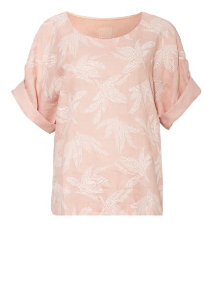 120%lino T-Shirt aus Leinen, Farbe: ROSÉ/ WEISS (Bild 1)