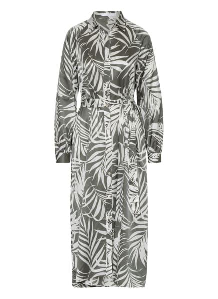 BOSS Kleid DINEW mit Seide, Farbe: WEISS/ OLIV (Bild 1)