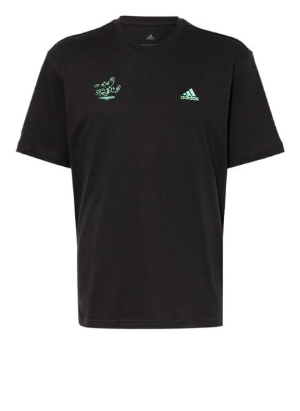 adidas Oversized-Shirt SIGNATURE, Farbe: SCHWARZ/ HELLGRÜN (Bild 1)