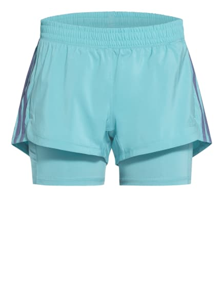 adidas 2-in-1-Fitnessshorts PACER 3S, Farbe: NEONBLAU (Bild 1)