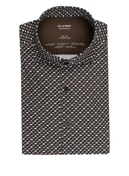 OLYMP Jerseyhemd No. Six 24/7 super slim, Farbe: OLIV/ DUNKELBLAU/ HELLLILA (Bild 1)
