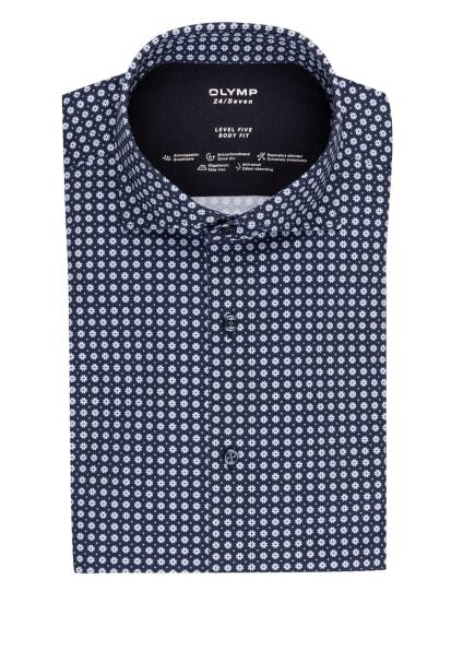 OLYMP Jerseyhemd Level Five 24/7 body fit, Farbe: DUNKELBLAU/ WEISS/ HELLBLAU (Bild 1)