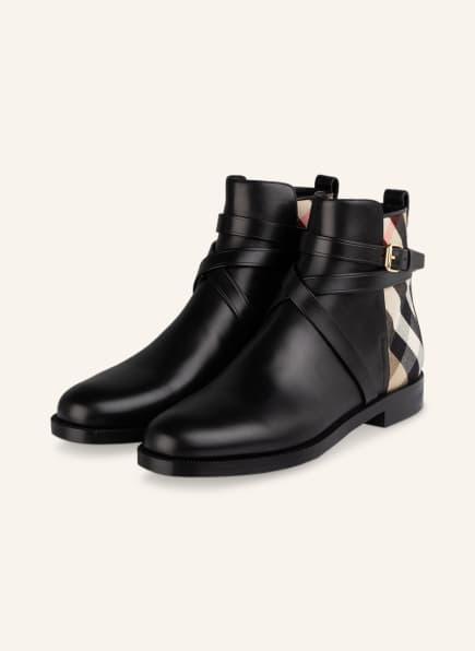 BURBERRY Chelsea-Boots, Farbe: SCHWARZ/ BEIGE/ ROT (Bild 1)