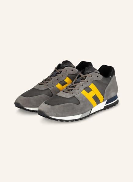 HOGAN Sneaker H383, Farbe: GRAU/ GELB (Bild 1)