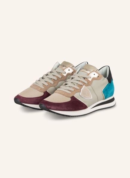 PHILIPPE MODEL Sneaker TRPX, Farbe: BEIGE/ DUNKELROT/ TÜRKIS (Bild 1)