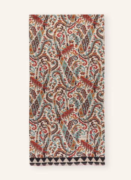 ETRO Cashmere-Schal mit Seide, Farbe: CREME/ ROT/ TÜRKIS (Bild 1)