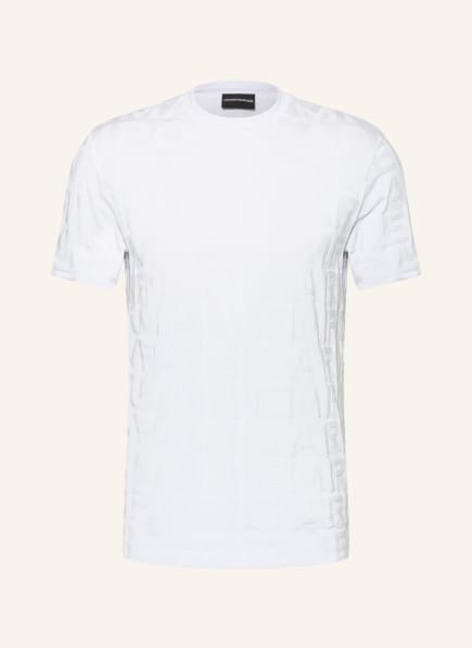 EMPORIO ARMANI T-Shirt aus Jacquard, Farbe: WEISS (Bild 1)