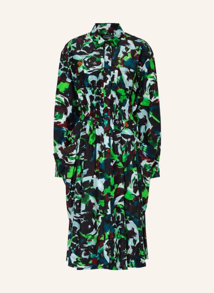 KENZO Hemdblusenkleid mit Seide, Farbe: SCHWARZ/ GRÜN/ DUNKELROT (Bild 1)