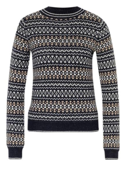 WEEKEND MaxMara Pullover HOT mit Alpaka, Farbe: DUNKELBLAU/ WEISS/ BEIGE (Bild 1)
