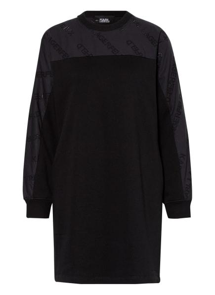 KARL LAGERFELD Kleid im Materialmix, Farbe: SCHWARZ (Bild 1)