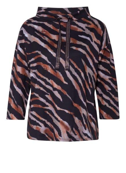 Betty Barclay Sweatshirt mit 3/4-Arm und Schmucksteinbesatz, Farbe: DUNKELBLAU/ DUNKELORANGE/ GRAU (Bild 1)