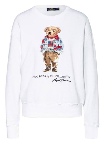 POLO RALPH LAUREN Sweatshirt mit Schmucksteinbesatz, Farbe: WEISS (Bild 1)
