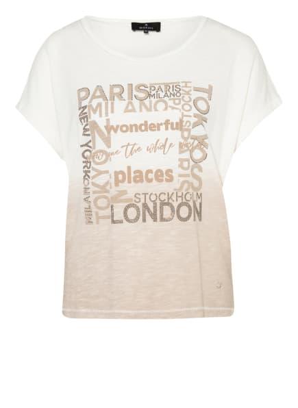 monari T-Shirt mit Schmucksteinbesatz, Farbe: ECRU/ BEIGE (Bild 1)