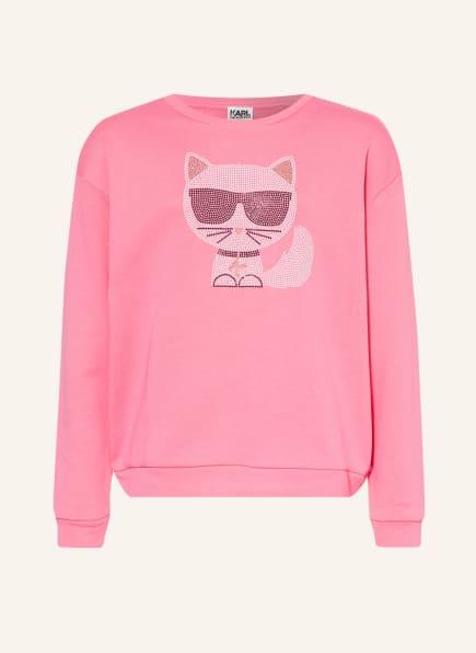 KARL LAGERFELD KIDS Sweatshirt mit Schmucksteinbesatz, Farbe: ROSA (Bild 1)