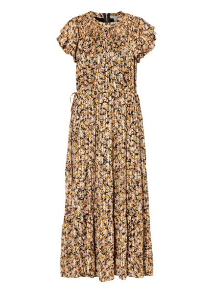 SECOND FEMALE Kleid DAGMAR mit Volants und Glitzergarn, Farbe: NUDE/ ORANGE/ SCHWARZ (Bild 1)