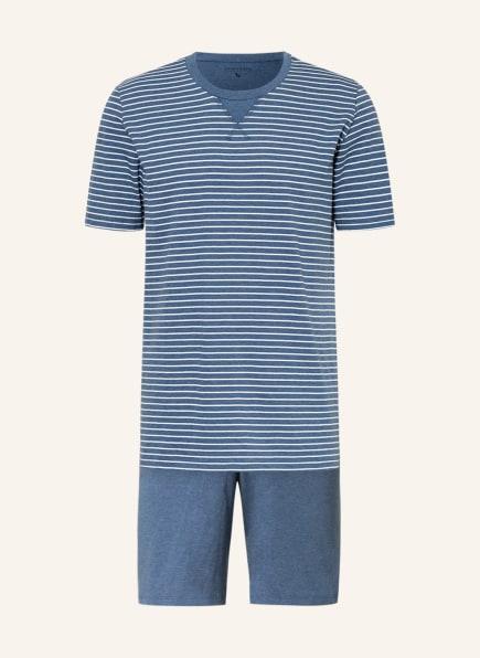 SCHIESSER Shorty-Schlafanzug NATURAL DYE, Farbe: BLAU/ WEISS (Bild 1)