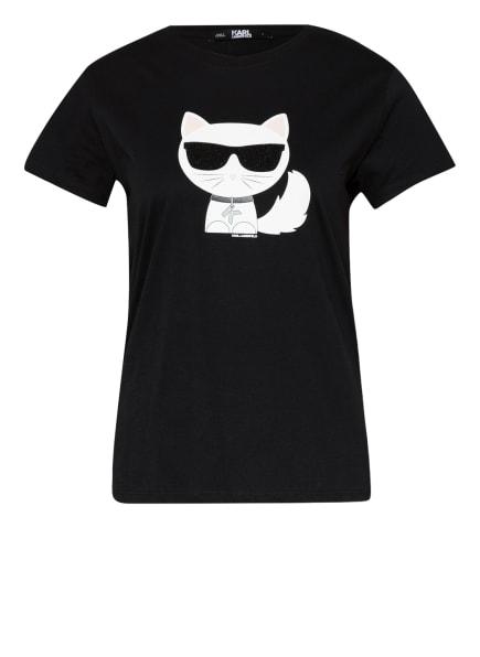 KARL LAGERFELD T-Shirt IKONIK mit Schmucksteinbesatz, Farbe: SCHWARZ (Bild 1)